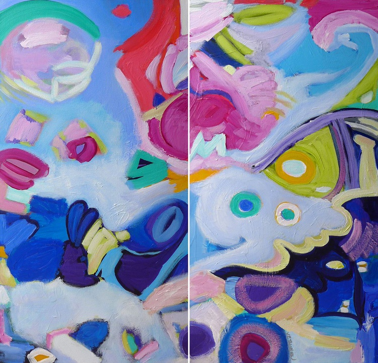 """At Play In The Clouds Diptych 36"""" x 36""""/91 x 91cm - Image 0"""