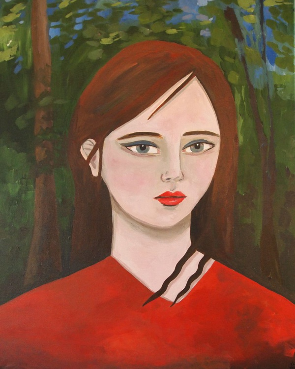 Red Portrait in Woods - Image 0