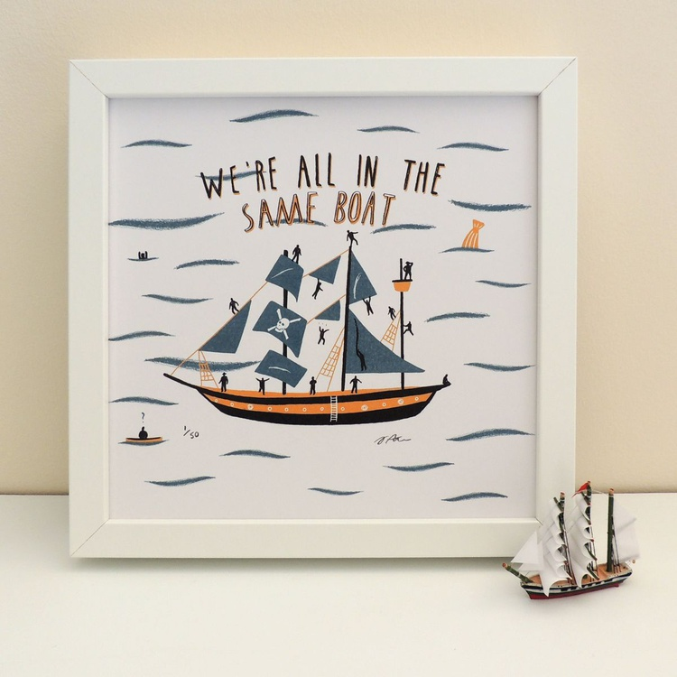 'All In The Same Boat' Illustrated Print - Image 0