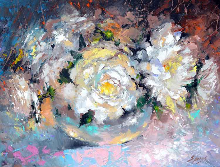 Peonies 2 - Oil Painting on Canvas by Dmitry Spiros. Size: 50cm x 65 cm -