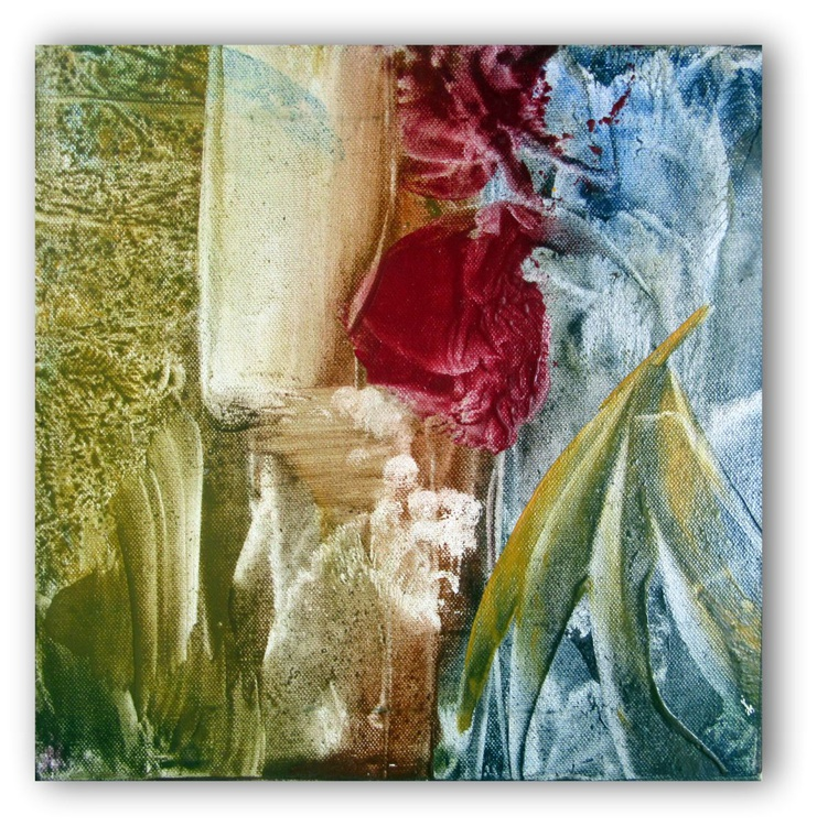 """Encaustic Wax Painting 12x12"""" Patchwork Quilt Design ready to hang square art - Image 0"""