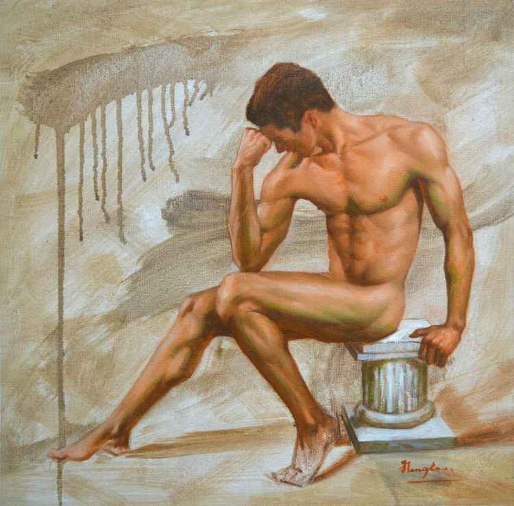 Original Oil paintingl  sketch art male nude  man on canvas  #16-4-4-05 -