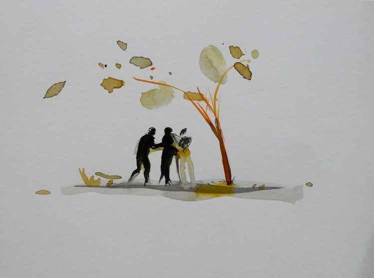 Trio under the tree, 21x29 cm -