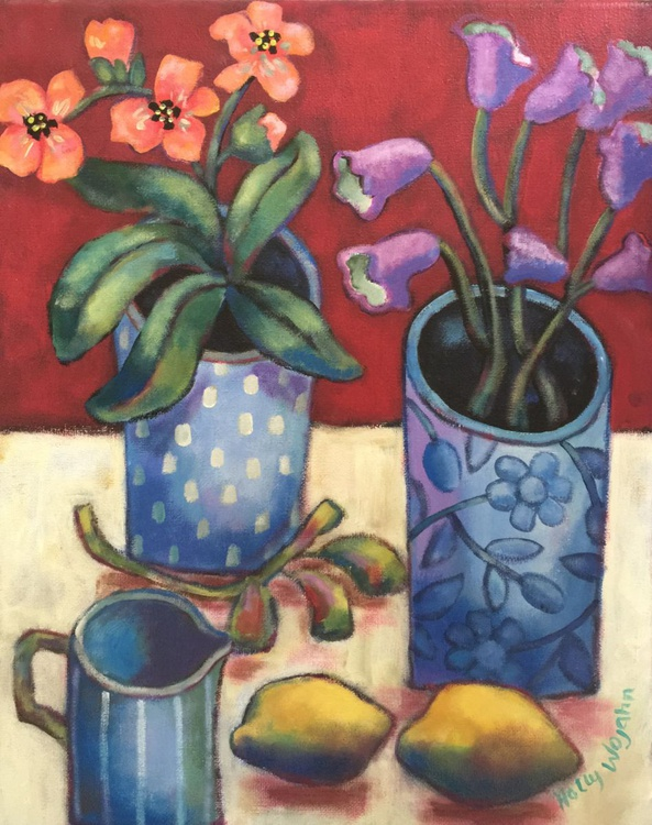 Naive Still Life With Blue Vases and Lemons - Image 0
