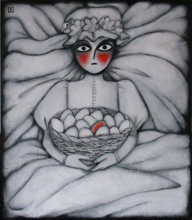 FREE SHIPPING - Child bride with red egg - Image 0