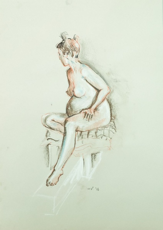 seated pregnant nude, A2 soft pastel life drawing #10 - Image 0