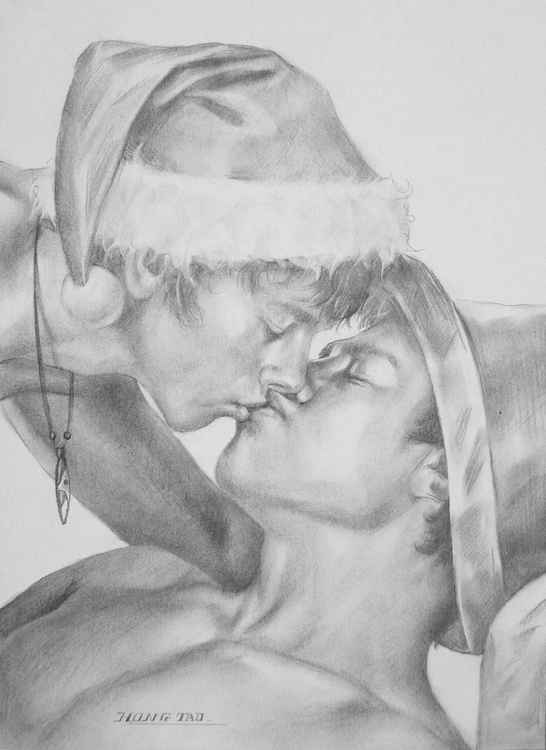 original art drawing charcoal gay interest kiss lovers  on paper #16-5-1-01