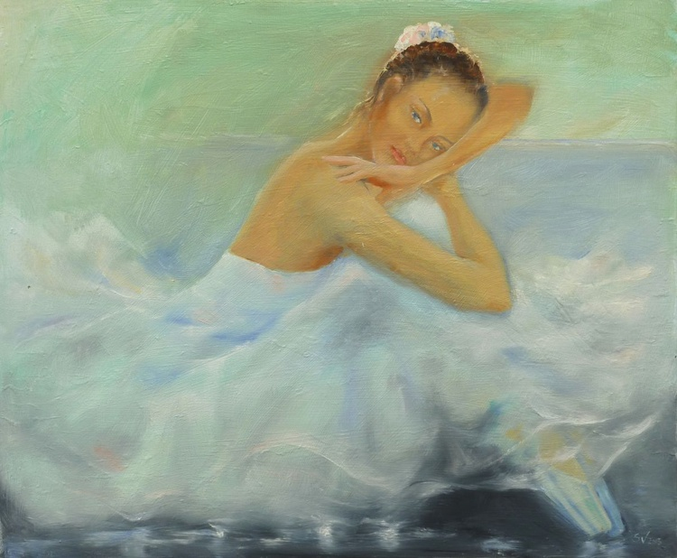 Ballerina leaning on her arm - Image 0