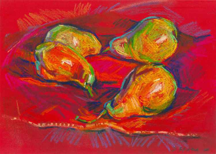 Pears on a red (pastel) -