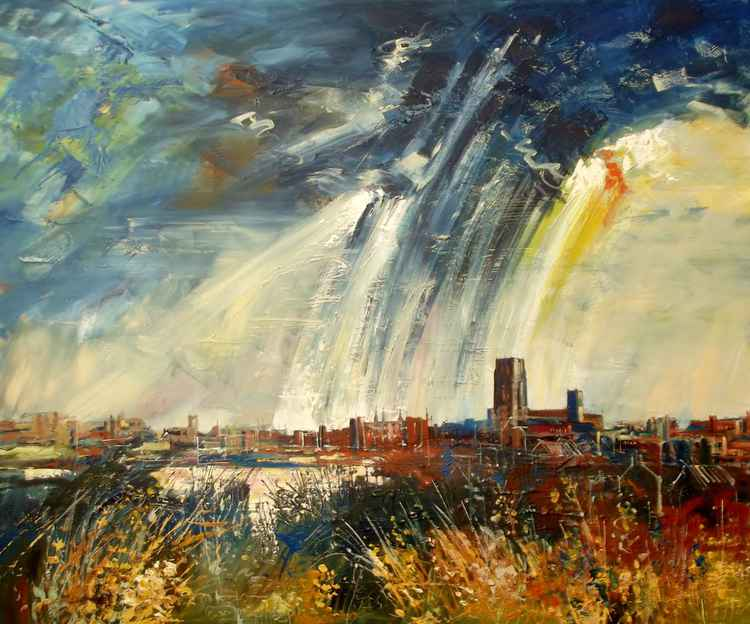 Durham Skyline with Storm Approaching