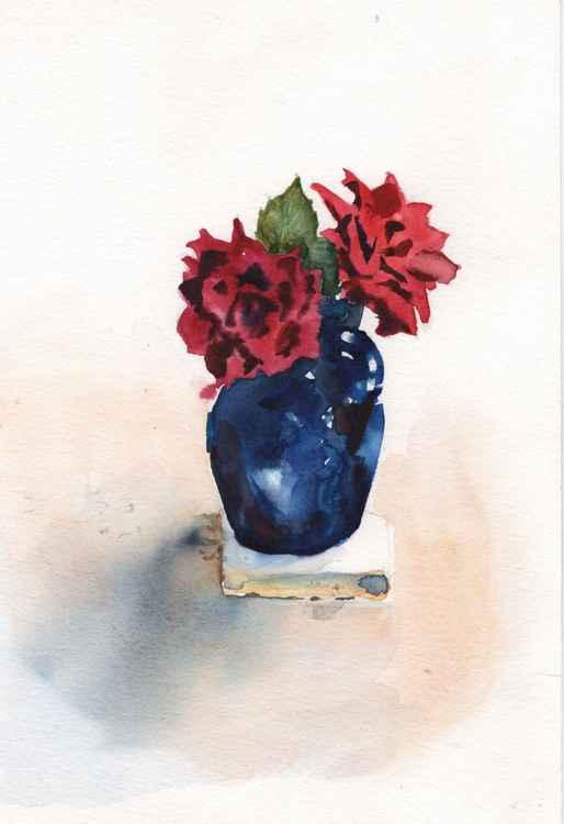 Roses in blue jug