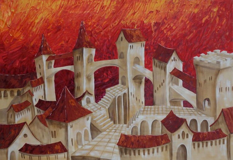 Surrealistic Old town in Italy palette knife Large painting 110x160 cm unstretched canvas s37 red original artwork by artist Ksavera - Image 0