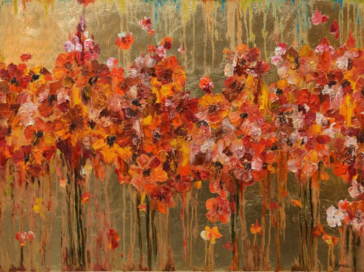 """My Secret Garden I - Large Modern Contemporary Abstract Floral Painting 32 x 24 """" - Image 0"""