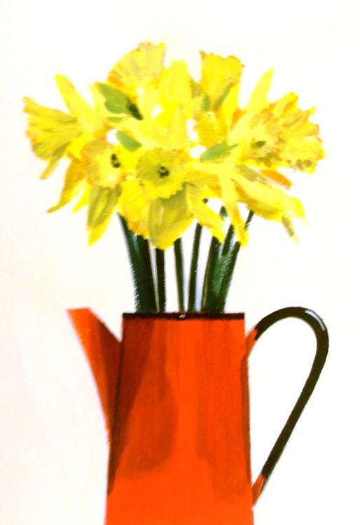 Daffodils in Red Jug - Image 0