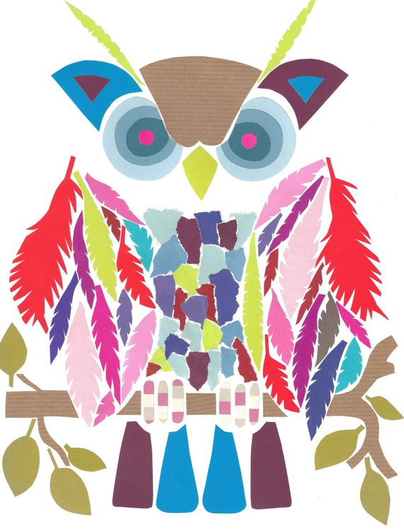Owl (Hand Cut Collage) Original Picture - Image 0