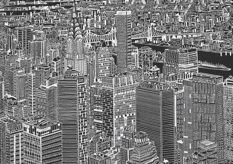 New York Skyline With The Chrysler Building Black And White Drawing Collage Detail