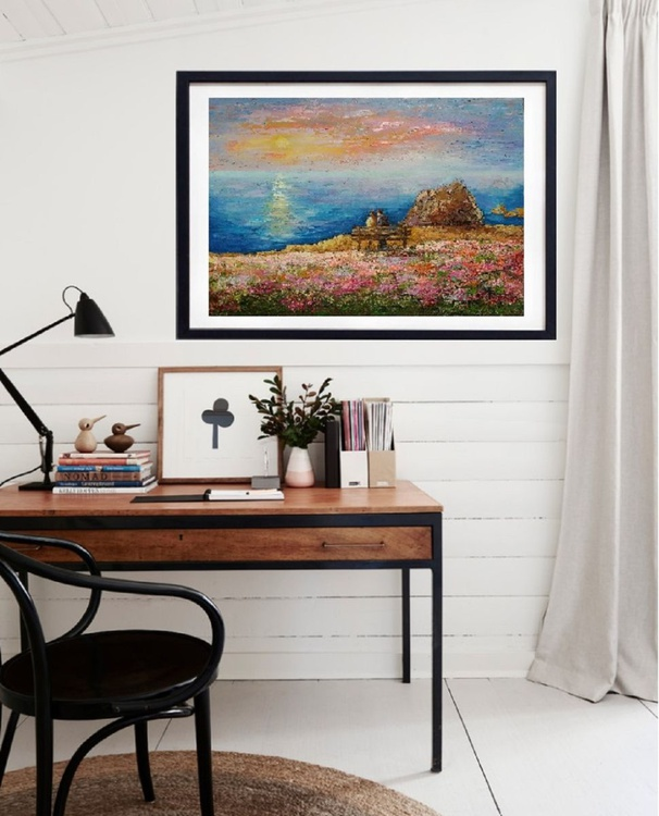 Seascape Spring in Opal Cliffs, 70×50 cm, original art, FREE SHIPPING / sunset / lovers / sea / blossoming - Image 0