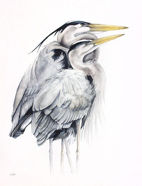GREAT BLUE HERONS bird, birds, animals, wildlife watercolour painting - Image 0