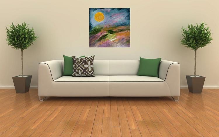 Blossoming fields. Sunset. Original artwork, 60x60 cm, FREE SHIPPING - Image 0