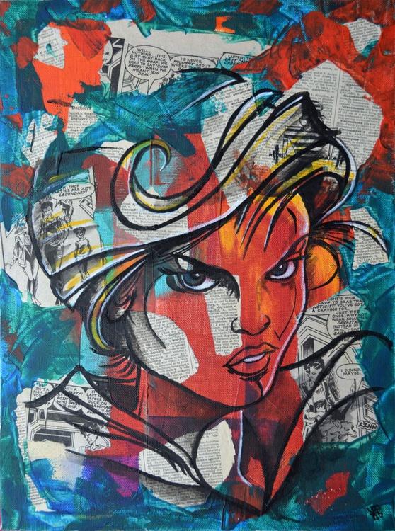 Halo Jones - Original Acrylic Painting on Decoupage Canvas - Image 0