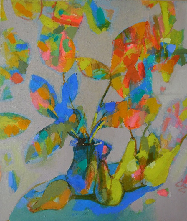 Pears and autumn leaves. - Image 0