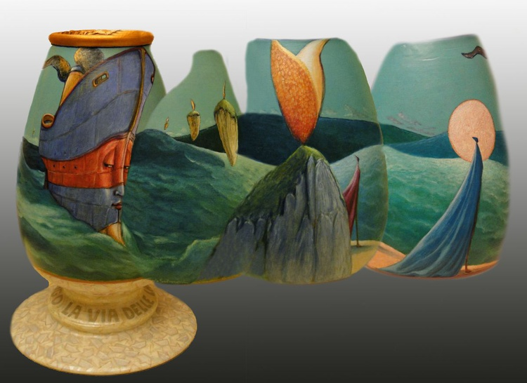 ALONG THE WAY OF THE LANTERNS - ( Painted vase ) - Image 0