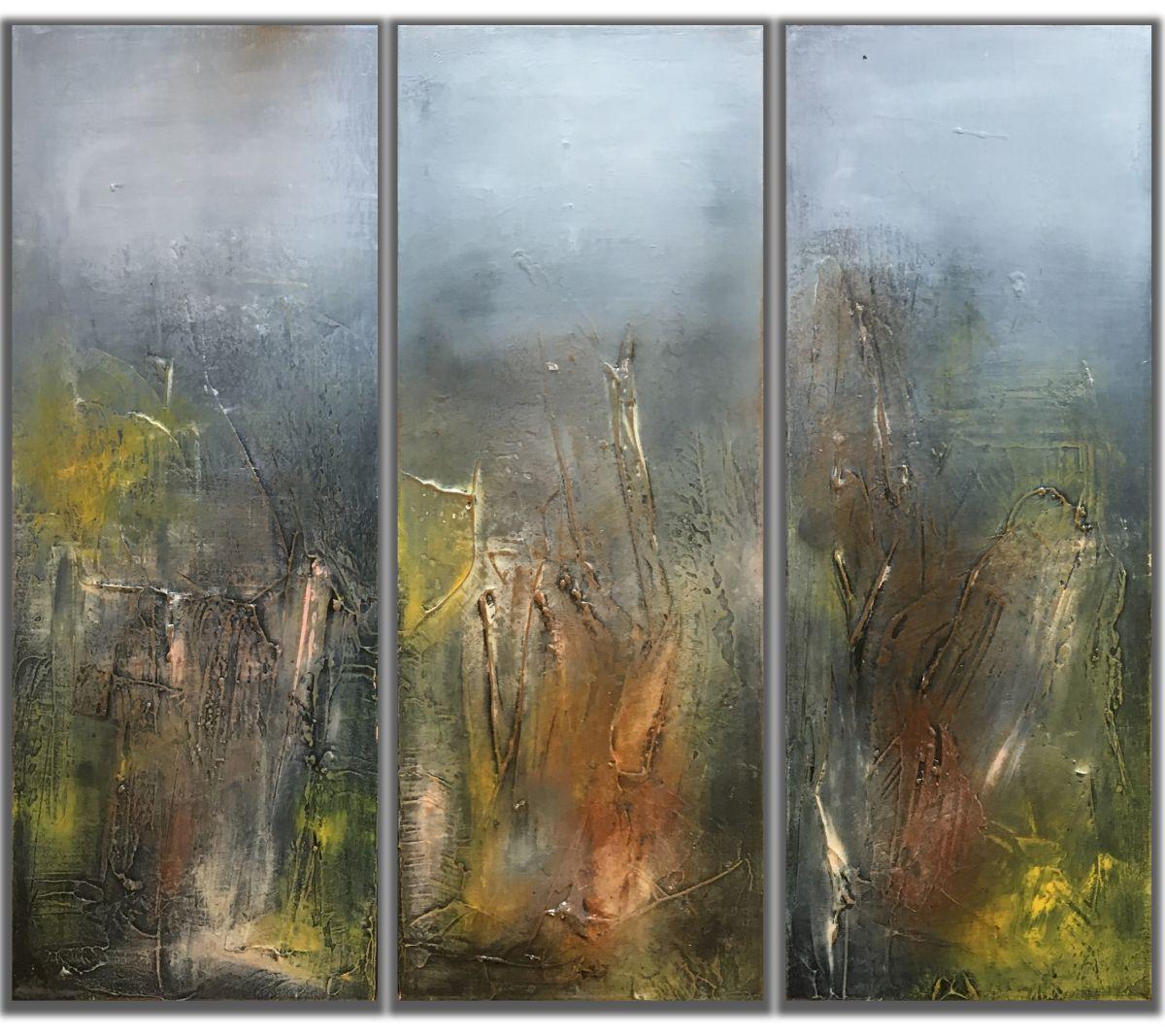 Triptych textured abstract painting 2016 acrylic for Textured acrylic abstract paintings
