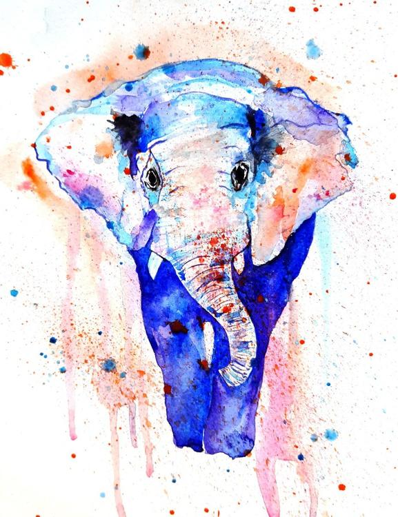 Watercolor elephant - Image 0