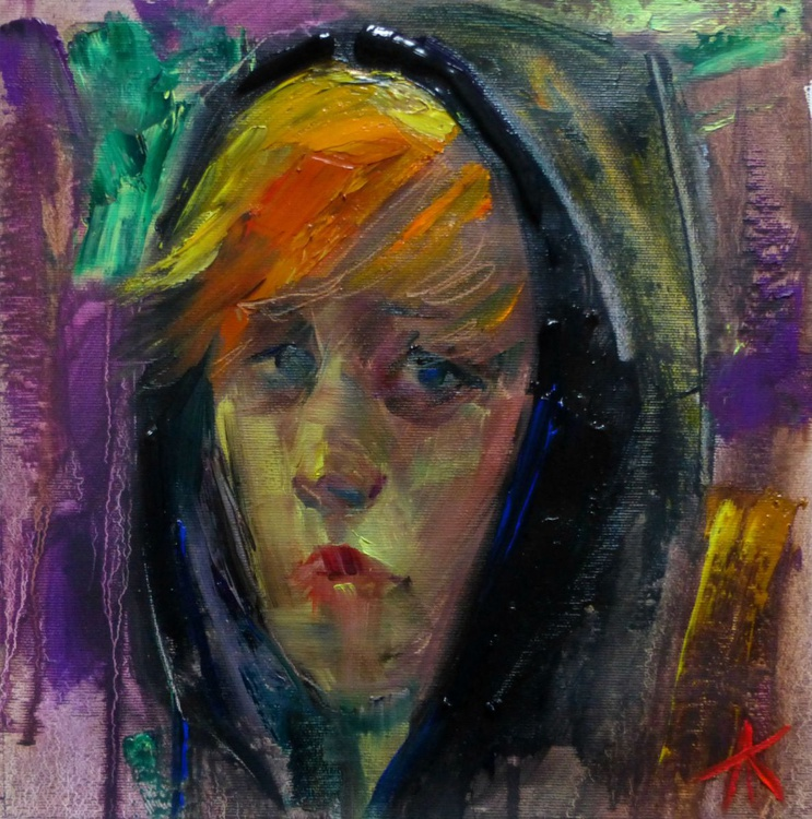 black hood, oil painting 30x30 cm - Image 0