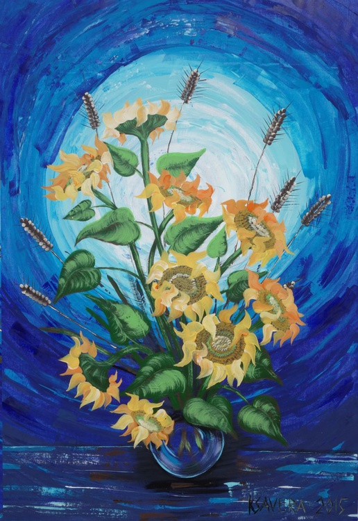 Sunflowers Blue Still Life Large expressionist acrylic painting 110x160 cm unstretched canvas art by artist Ksavera - Image 0
