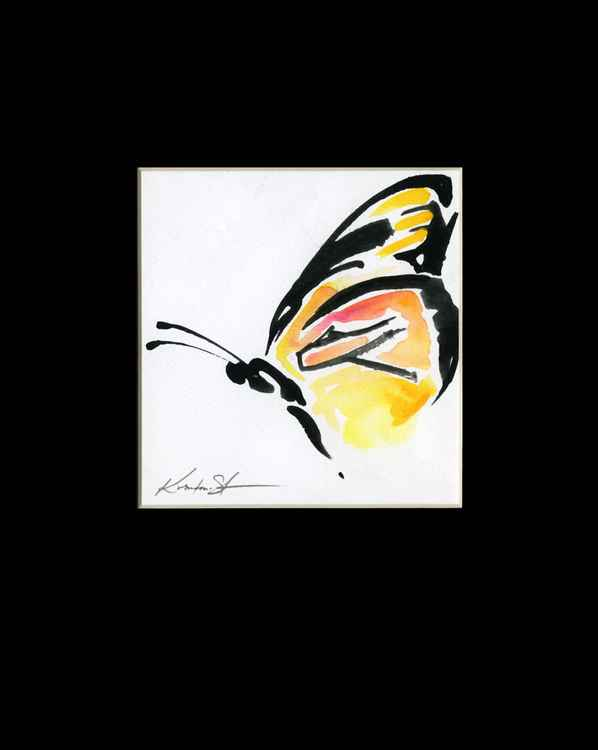 Monarch Butterfly Watercolor Painting, Abstract- Butterfly Love No. 964 -