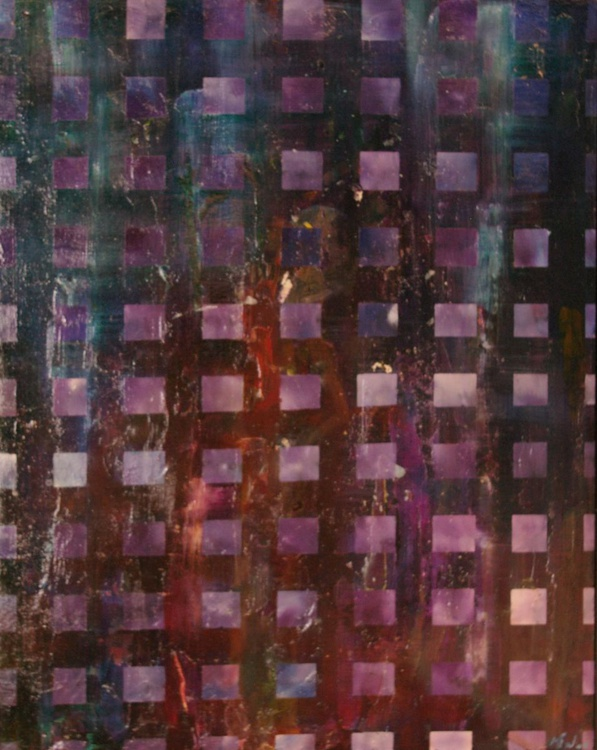 Nebula Squares - Original One of a Kind Framed Ready to Hang Abstract Oil Painting - Image 0