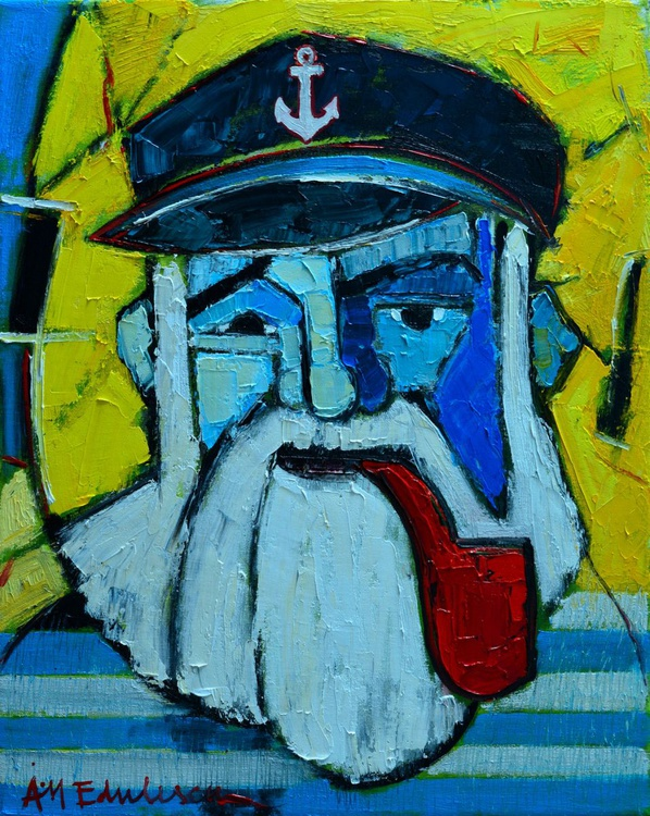 OLD SEAMAN WITH RED PIPE - ABSTRACT EXPRESSIONIST PORTRAIT - Image 0