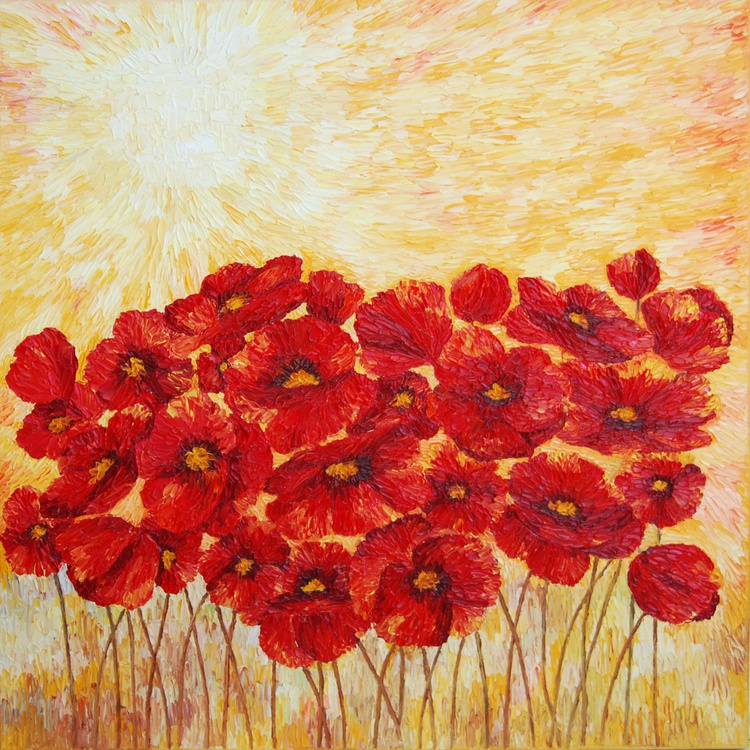FIELD OF POPPIES - ORIGINAL FLORAL OIL PAINTING IMPASTO WALL ART HOME DECOR - Image 0
