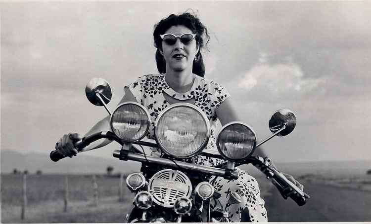 Celia on Harley, c. 1947 • Samuel Gutierrez, Foto Estudio Paris, Jalisco, Mexico • Metallic Print #1