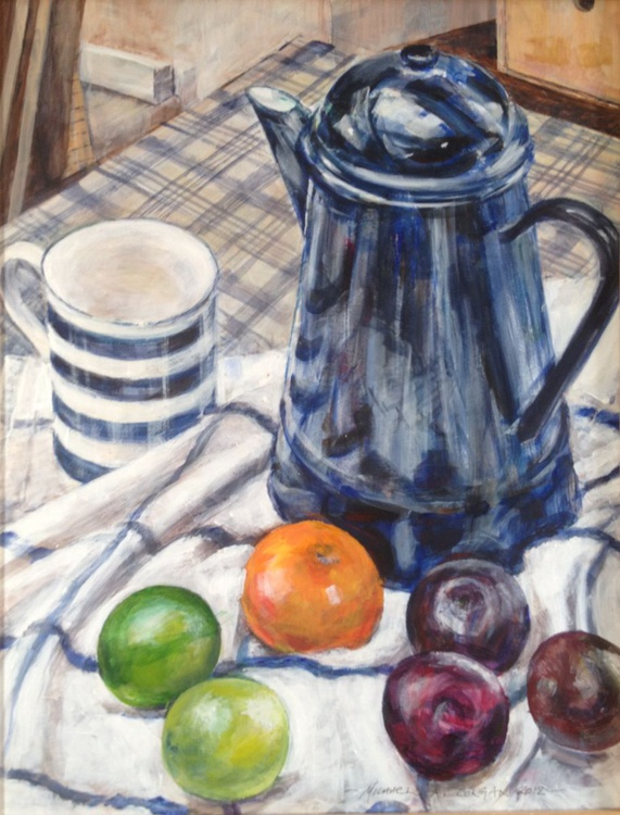 Blue Enamel Coffee Pot - Image 0