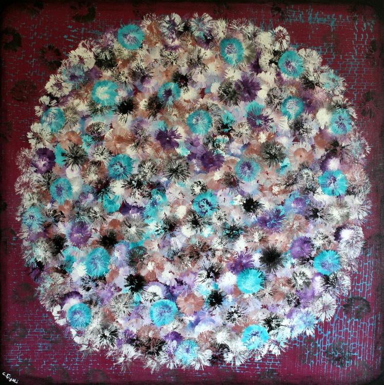 Vintage Bouquet #2 large 100cm x 100 cm abstract, vintage home decor on deep edge stretched canvas - Image 0