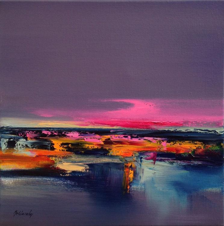 Lazy Sunday - 40 x 40 cm, abstract landscape oil painting, purple, orange, pink - Image 0