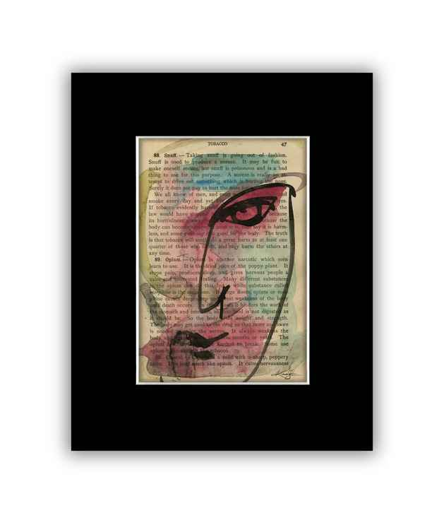 """I See 13"" on Antique Book Page - Abstract Watercolor Painting -"