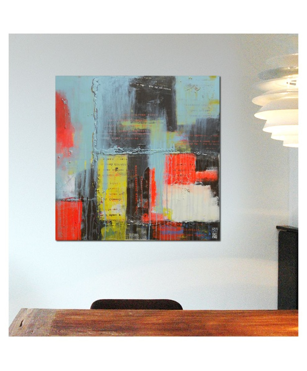 Acrylic Abstract Painting - TypoPop Neon Two- 478 - Image 0