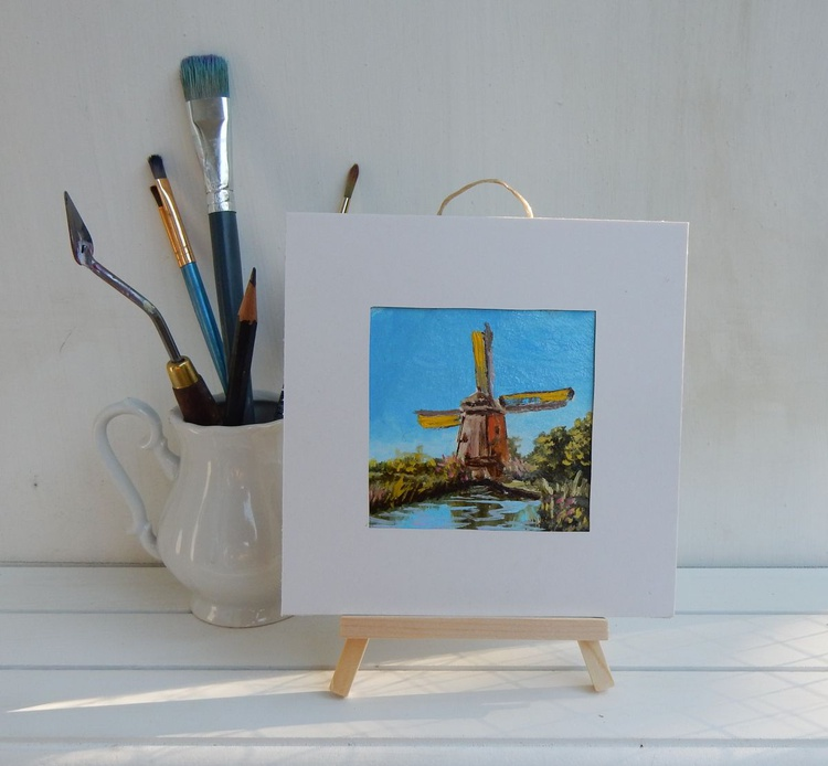 Rembrandt's Wind mill (4) in Amsterdam. Holland. Landscape Miniature. Easel is included. Gift painting. Ready to hang. - Image 0