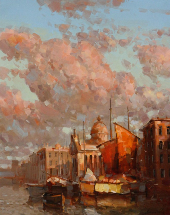 Sail Boats-Venice Original oil Painting on Canvas - Image 0