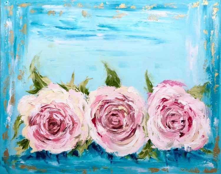 "Vintage Roses oil on canvas 24""x30"" -"