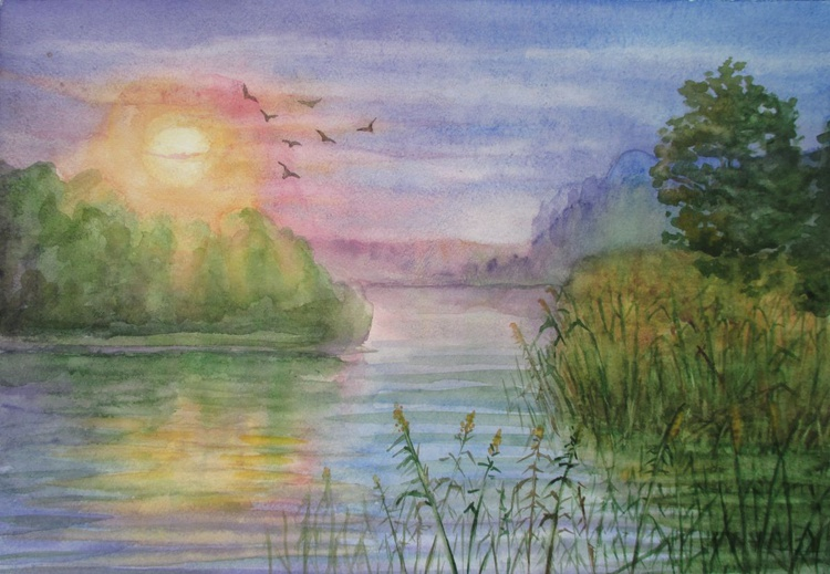 The backwater - watercolor landscape - Image 0