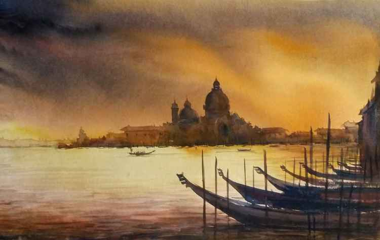 Monsoon Venice - Watercolor Painting -