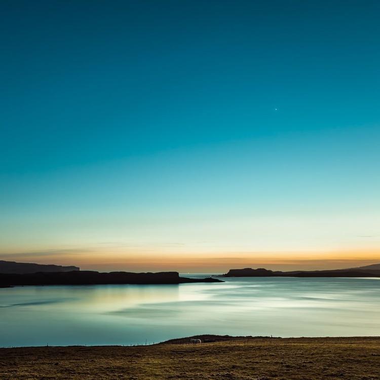 Serenity, Loch Harport, Isle of Skye, Minimalist Landscape, Teal Blue, Lighthouse - Image 0