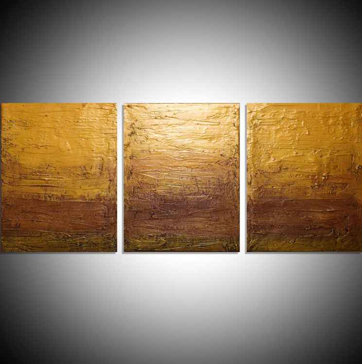 "triptych 3 panel wall art colorful images ""Gold Intervention"" 3 panel canvas wall abstract canvas pop abstraction 48 x 20 "" other sizes available -"