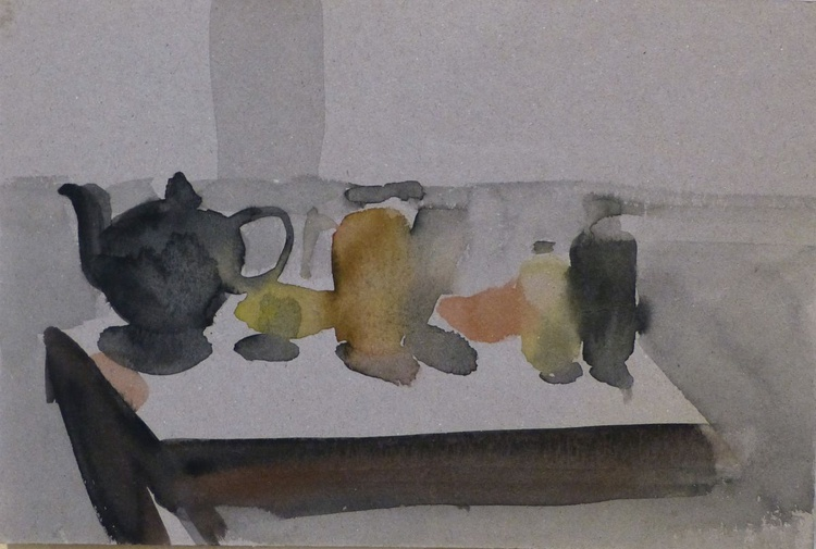 Still Life with Teapot and Kitchen Table, small format 18x12 cm - Image 0