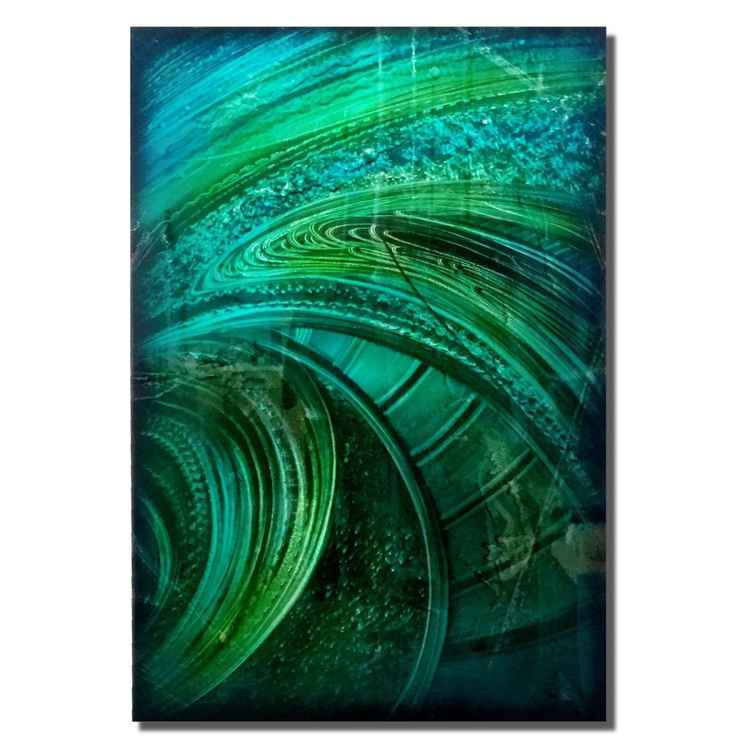 The Path to Everywhere | Whimsical Modern Art - Blue/Green Metal Art - Cool Tones Painting - Contemporary Blue Artwork - Abstract Green/Blue Decor