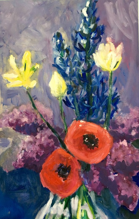 Anemones, Tulips and Lilacs : medium sized impressionist still life original oil painting - Image 0